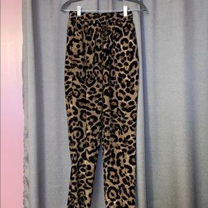 Drawstring Leopard Trousers